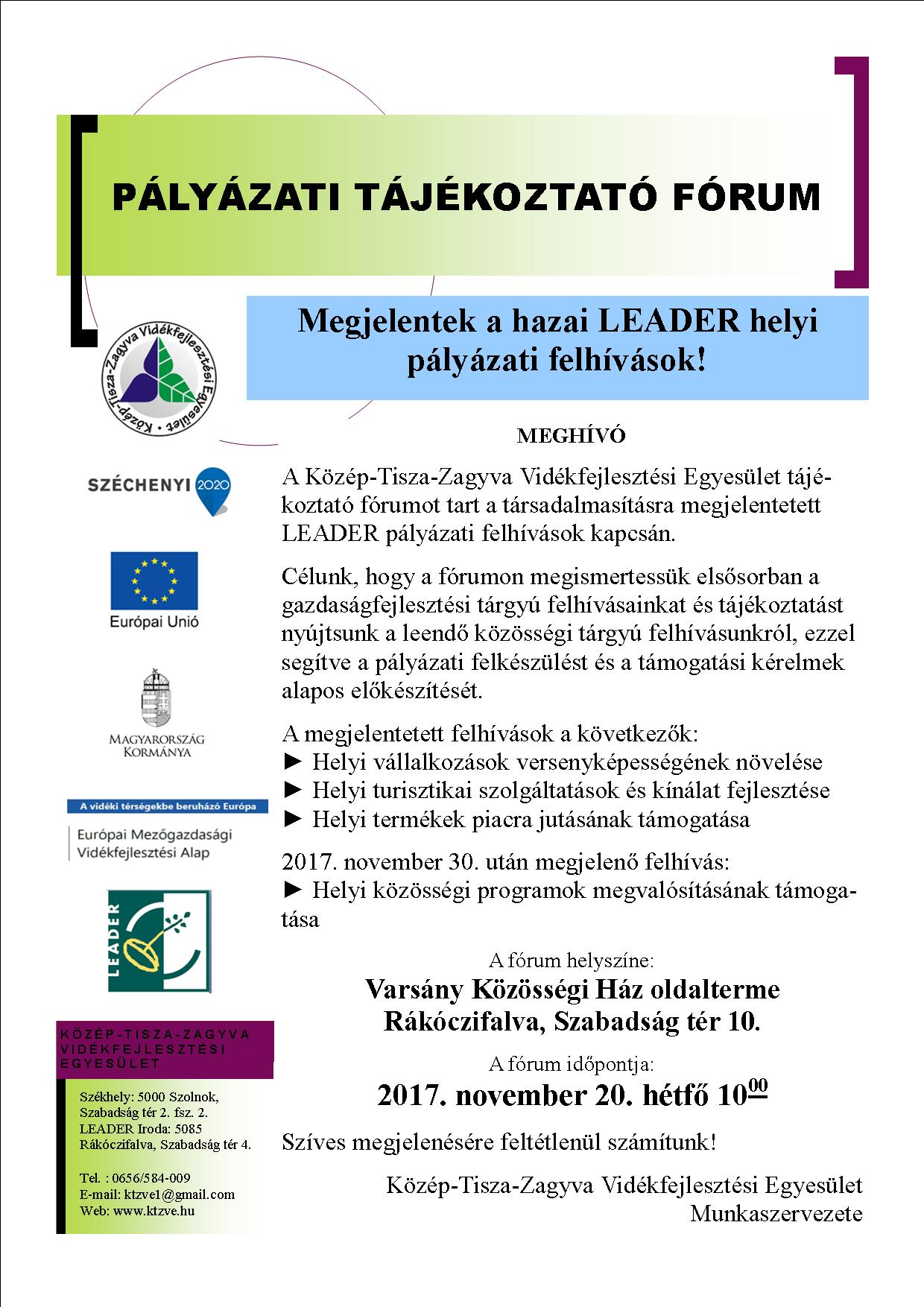 0bb6e03725 Közép-Tisza-Zagyva Vidékfejlesztési Egyesület